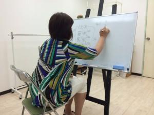 姓名判断養成講座6月29日小川あきこホワートボードに向かって