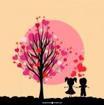 バレンタイン木の絵